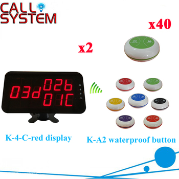 Calling System Service Equipment Pager Used Restaurant Hotel Wireless Waiter Call Equipment( 2 display+40 call button )