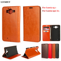 LUCKBUY Top Quality Classic Business Real Leather Flip Cover For Microsoft Lumia 950XL Nokia Lumia 950