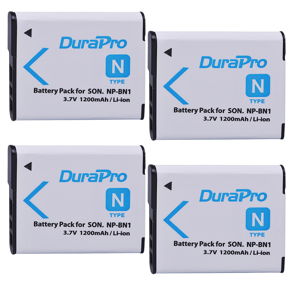4PC 1200mAh NP-BN1 NP BN1 NPBN1 Rechargeable Camera Battery for <font><b>SONY</b></font> <font><b>DSC</b></font> TX9 T99 WX5 TX7 TX5 W390 W380 W350 <font><b>W320</b></font> W360 QX100 W370 image