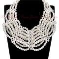 Nueva moda cadena dorado de la perla blanca Chunky babero del ahogador del collar de la declaración