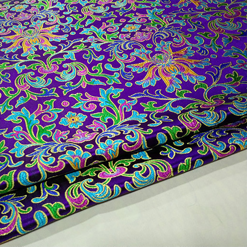 HLQON 75cm width brocade yarn dyed purple fabric for patchwork felt tissue telas bed sheet cheongsam dress children cloth coat