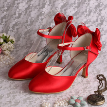 Wedopus MW745 Custom Handmade Betty Latin Dance Shoes Woman Red Satin 6.5CM Heel