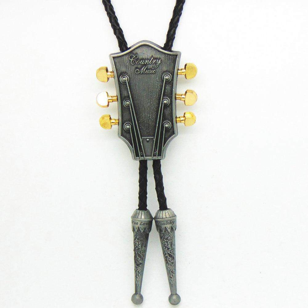 Fashion Music Guitar Bolo Tie Pendant Necklace Dance Rodeo Bola Bolo Tie Western Cowboy Leather Belt Necktie