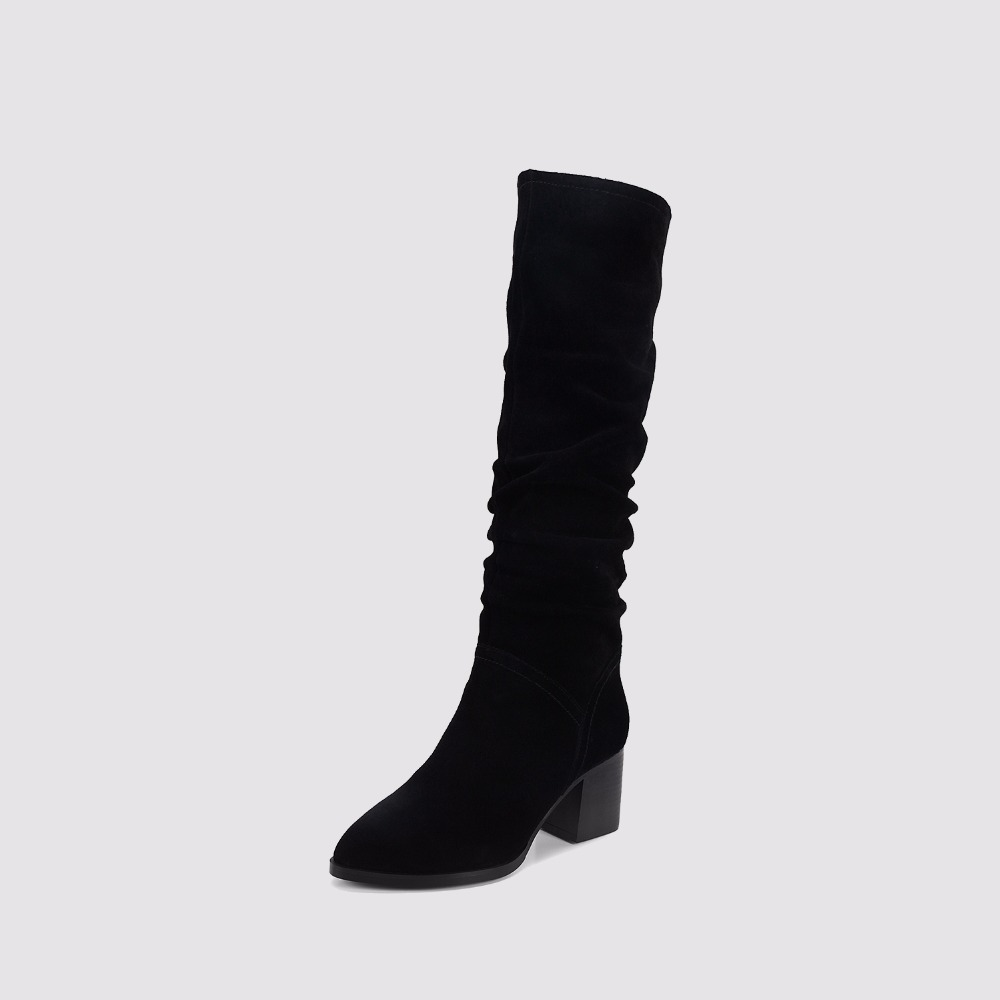 Winter Superstar Woman Knee High Boots Suede Genuine Leather Pointed Toe Ladies Long Boots Block Heels Woman shoes