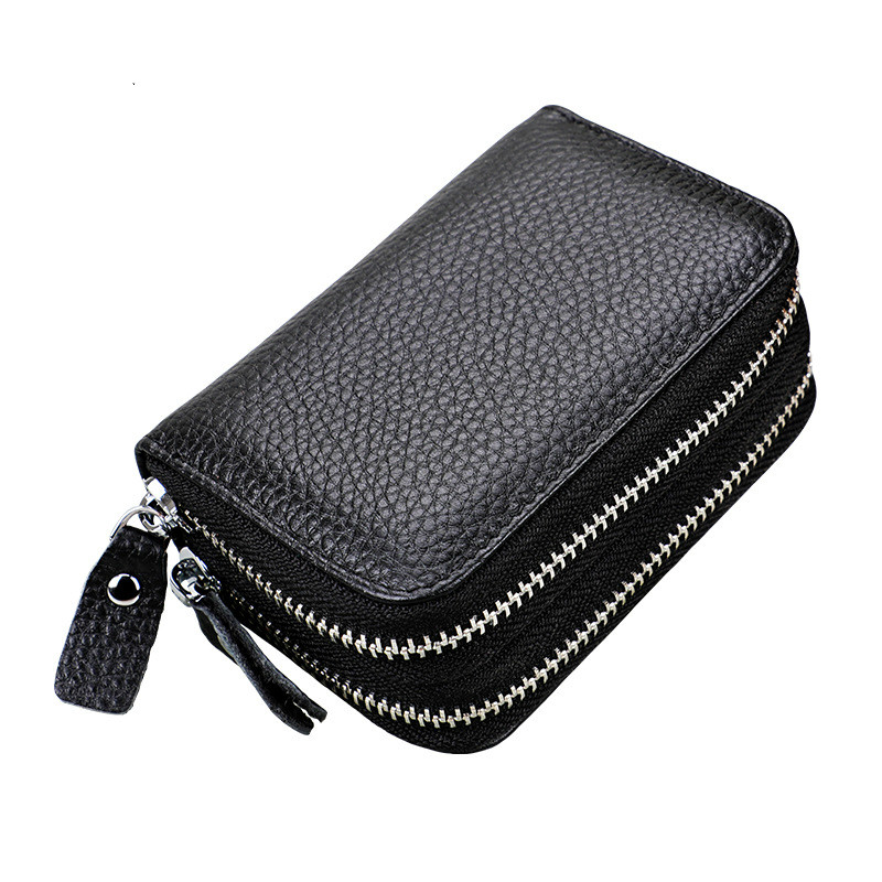 Leather card package anti theft rfid card holder coin purse women double zipper card bag coin purse wallet in Coin Purses from Luggage Bags
