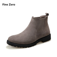 Fine Zero New Autumn Winter Male Casual Warm Plush Ankle Chelsea Boots Male Shoes Suede Leather