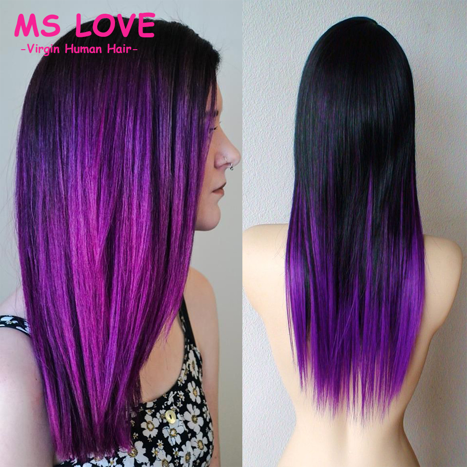 Charming Two Tone Ombre 1b Purple Brazilian Hair Extensions7a