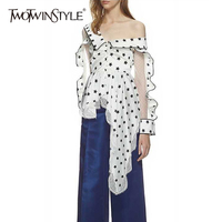 TWOTWINSTYLE Print Shirt Female Off Shoulder Ruffles Lace Patchwork Tunic High Waist Asymmetrical Blouse Womens Spring
