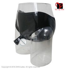 Black Sexy Latex underwear with mould penis sheath open front Rubber pants with condom Shorts KZ-043