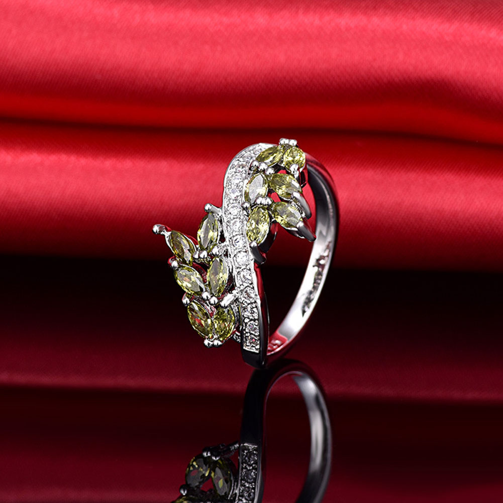New Wheat Shape Big Rings For Women Wheat Design CZ Stone Statement Ring Engagement Whol ...
