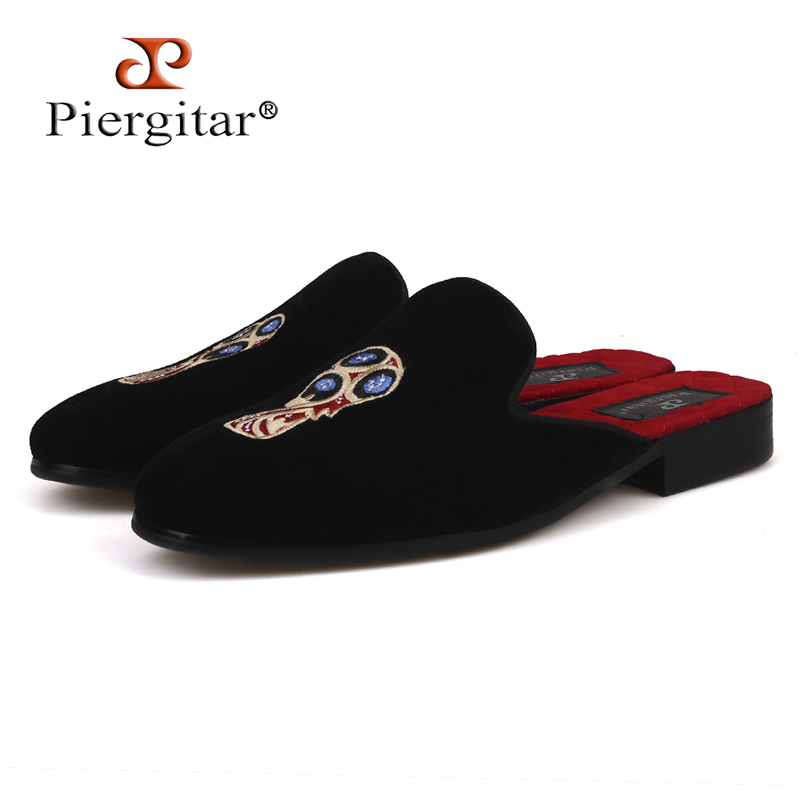 Piergitar brand 2018 Russian Football World Cup Embroidery men velvet slippers Fashion party half designs loafers plus size стоимость