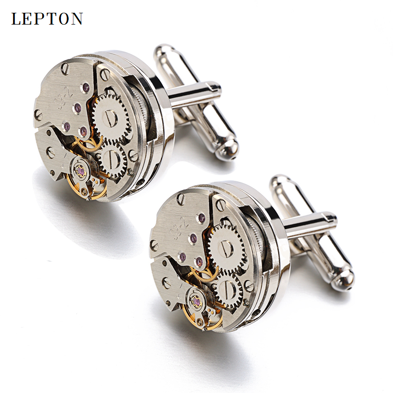 Men Business Watch Movement Cufflinks of immovable Lepton Steampunk Gear Watch Mechanism Cuff links for Mens Relojes gemelos