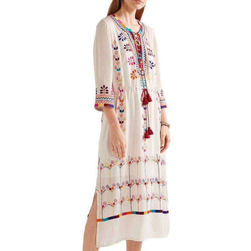 Vacances Style Floral Longue Robe ivoire Robes Maxi Hippie Bohème Scission Lâche Ethnique Ourlet Gitane Broderie Noir Gland De Plage m8Nwn0