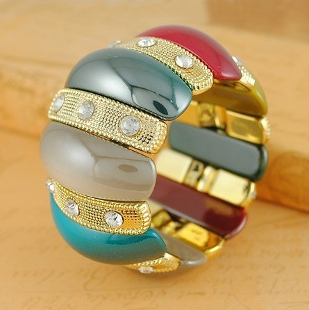Free Shipping 1 lot/10 piecs summer European style exotic jewelry Bohemian style alloy bangle bracelet printed pattern on resin