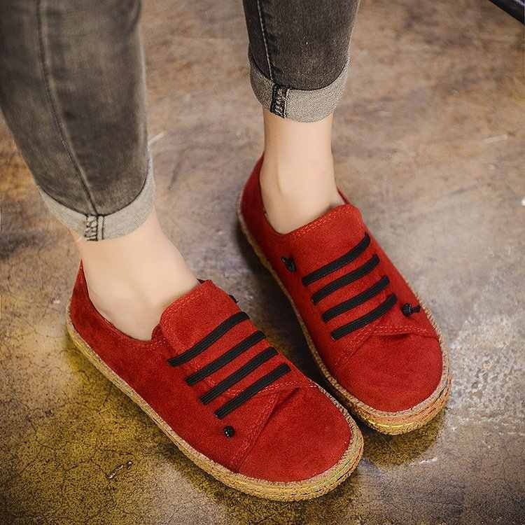 Flat Women Autumn Shoes Woman Casual Lace-up Flats Comfortable Round Toe Loafers Shoes Flat Shoes Women 8kl