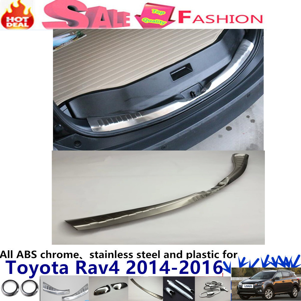 Car Styling Stainless Steel Inner Rear Bumper trim plate lamp frame threshold pedal 1pcs for T0Y0TA RAV4 2014 2015 2016 for porsche cayenne 2015 stainless steel outer rear bumper foot plate trim 1pcs car styling