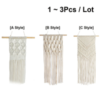 Handmade Macrame Woven Wall Hanging Tapestry Decoration Wall Art Tapestries for Wedding Living Room Apartment Party 1/3Pcs / Lot