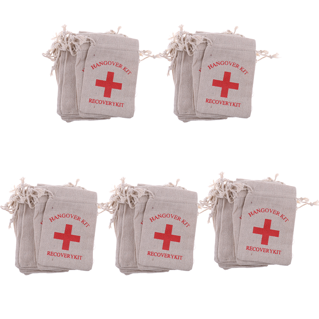 Image 4 - Pieces of 50 Recovery Hangover Kit Bags Hens Party First Aid Bag Muslin Favor Bag 13x9 cm-in Gift Bags & Wrapping Supplies from Home & Garden
