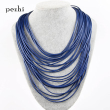 European and American personality exaggerated multi-layer leather rope necklace 26 items