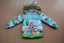 Высота 90-140 см 6 7 8 9 лет Девочки зима мультфильм пальто одежда моя пони меховой воротник куртки хлопка для девочки дети милые пиджаки
