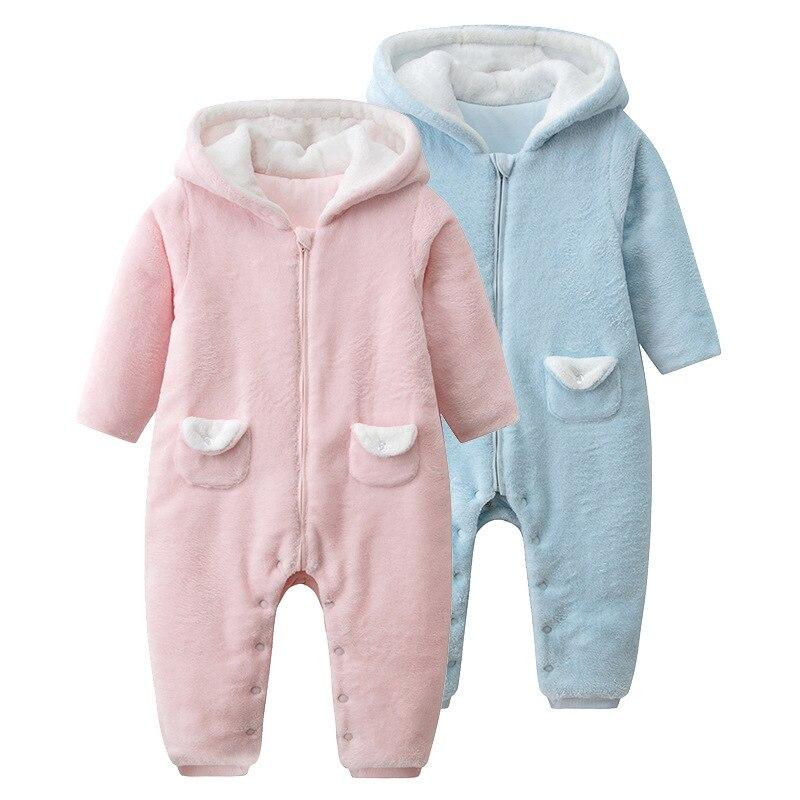 baby winter clothes, Hooded Baby coral velvet Romper Infant Jumper Warm Fleece Jumpsuit Outfits Bunting velvet skinny jumpsuit