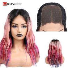 Wignee 4*4 Lace Closure Colorful Human Hair Wig For African Market Middle Part Red/Pink Rainbow Cosplay Brazilian Remy