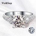 El oro blanco plateó AAA CZ del anillo de diamante anillos de Boda joyería de la vendimia regalos de Joyería de moda de diseño de Marca de alta calidad VSR050