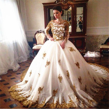 Sparkly Gold Applique Ball Gown Wedding Dresses Luxury O Neck Long Sleeves Chapel Train Bridal Gown Hochzeitskleid