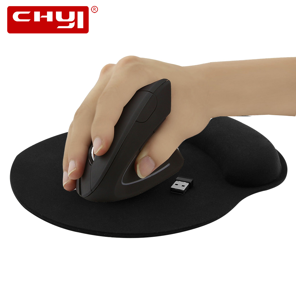 CHYI Ergonomic Vertical Wireless Mouse 800/1200/1600DPI Optical Mause 5D Gaming Mice Wrist Rest Mouse Pad For PC Gamer Laptop chyi wired mouse ergonomic vertical 800 1000 1200 1600dpi 5 keys usb gaming mice with mouse pad kit wrist rest mat for pc laptop