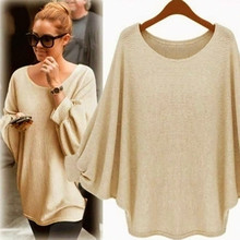 Women Oversized Batwing Knitted Pullover Loose Tops Autumn winter Female Loose pullover Femme Tops