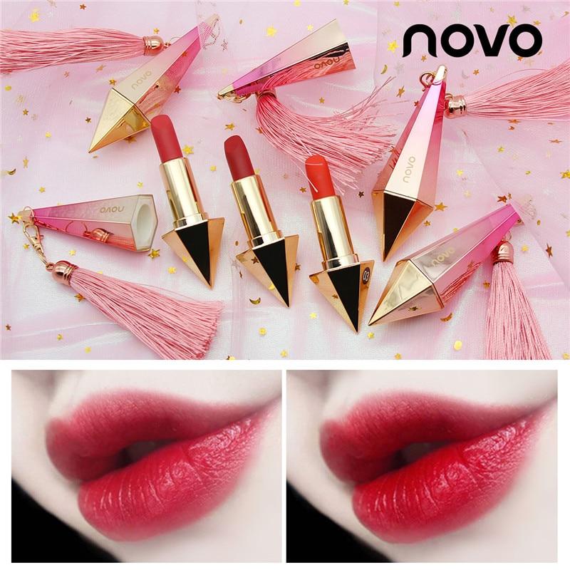 Koreanischen Stil NOVO Marke Vevet Nude Matte Lippenstift Roten Lippen Lippenstift Rosa Diamant Form Lippenstift Long Lasting Wasserdichte Kosmetische