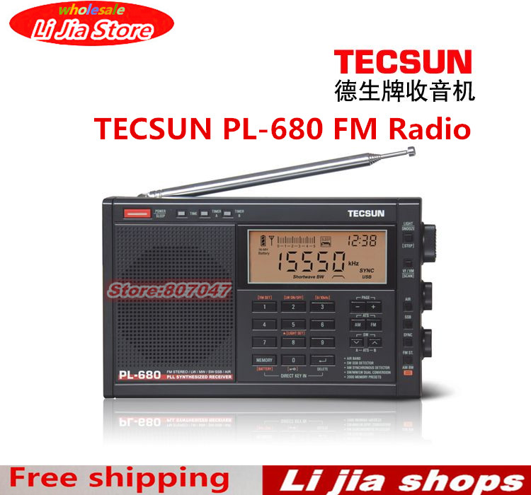 Original TECSUN PL-680 PL680 FM Radio Synthesized Receiver Stereo Portable Radio DSP Digital Radio NEW free shipping tecsun mp 300 fm dsp clock radio usb mp3 player high sensitivity stereo radios ats retail package