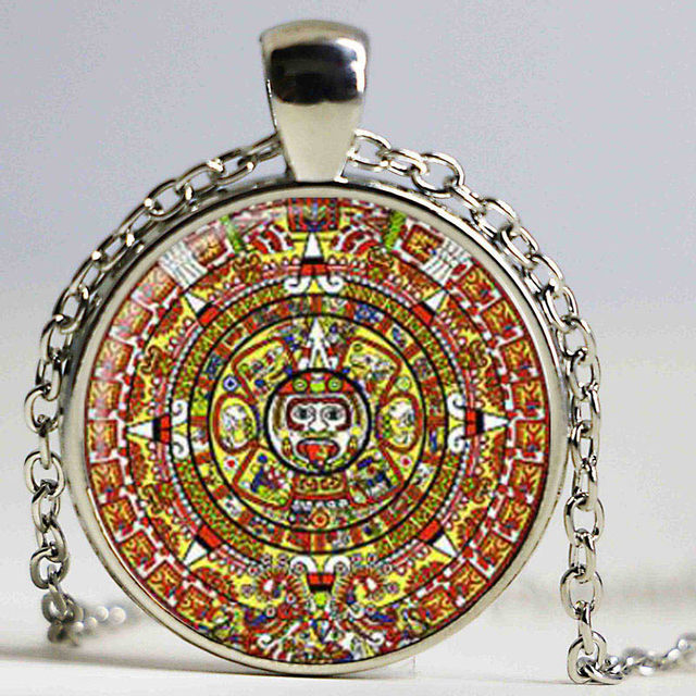 Online shop aztec calendar necklace sun stone pendant jewelry the aztec calendar necklace sun stone pendant jewelry the xiuhpohualli the tonalpohualli glass cabochon necklace aloadofball Image collections