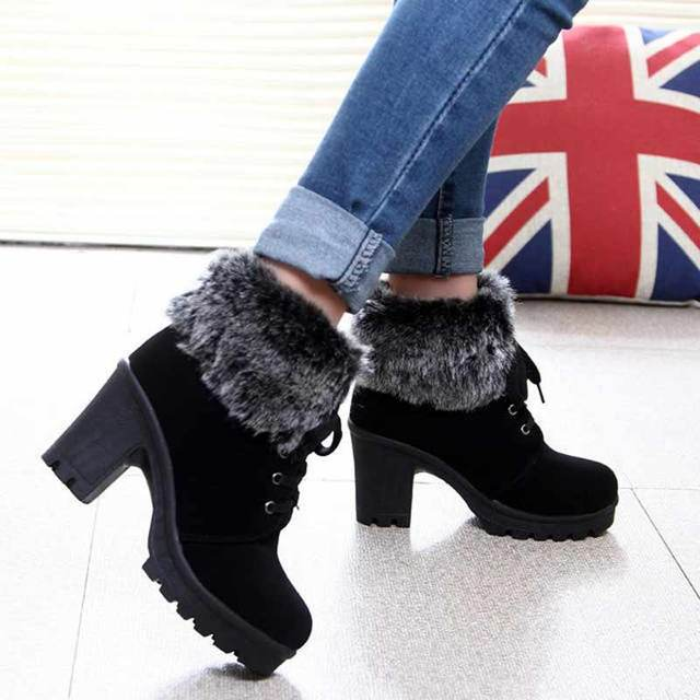 High heel boots women shoes 2018 fashion plush lace up keep warm winter women boots new design shoes woman ankle female