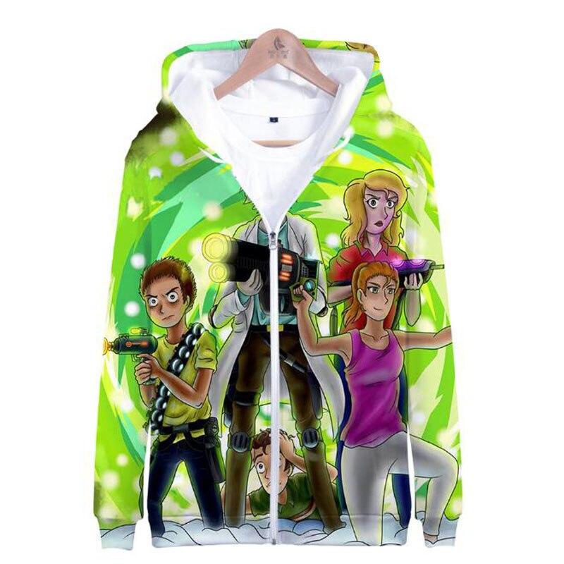 Sudadera rick and morty 3D Hoodies Women Men Hip Hop With Zipper Hooded Sweatshirt Funny Streetwear Womens Jackets And Coats 4XL