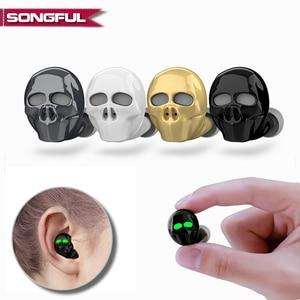 Image 1 - 2019 New Skull Bone Bluetooth Earphone with Microphone Noise Cancelling Hi Fi Handsfree Bass Stereo Mini Micro Earbud Earpiece