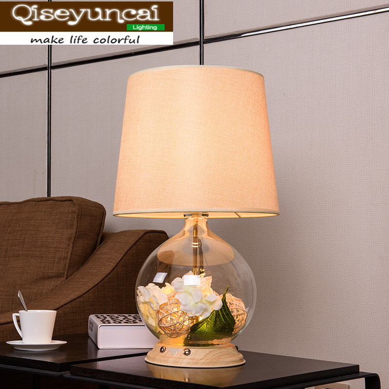 Qiseyuncai 2018 Modern living room coffee table lamp upscale club simple and warm romantic fresh garden bedroom bedside lamp fashion simple modern k9 crystal table lamp warm bedroom bedside cabinet lights qiseyuncai
