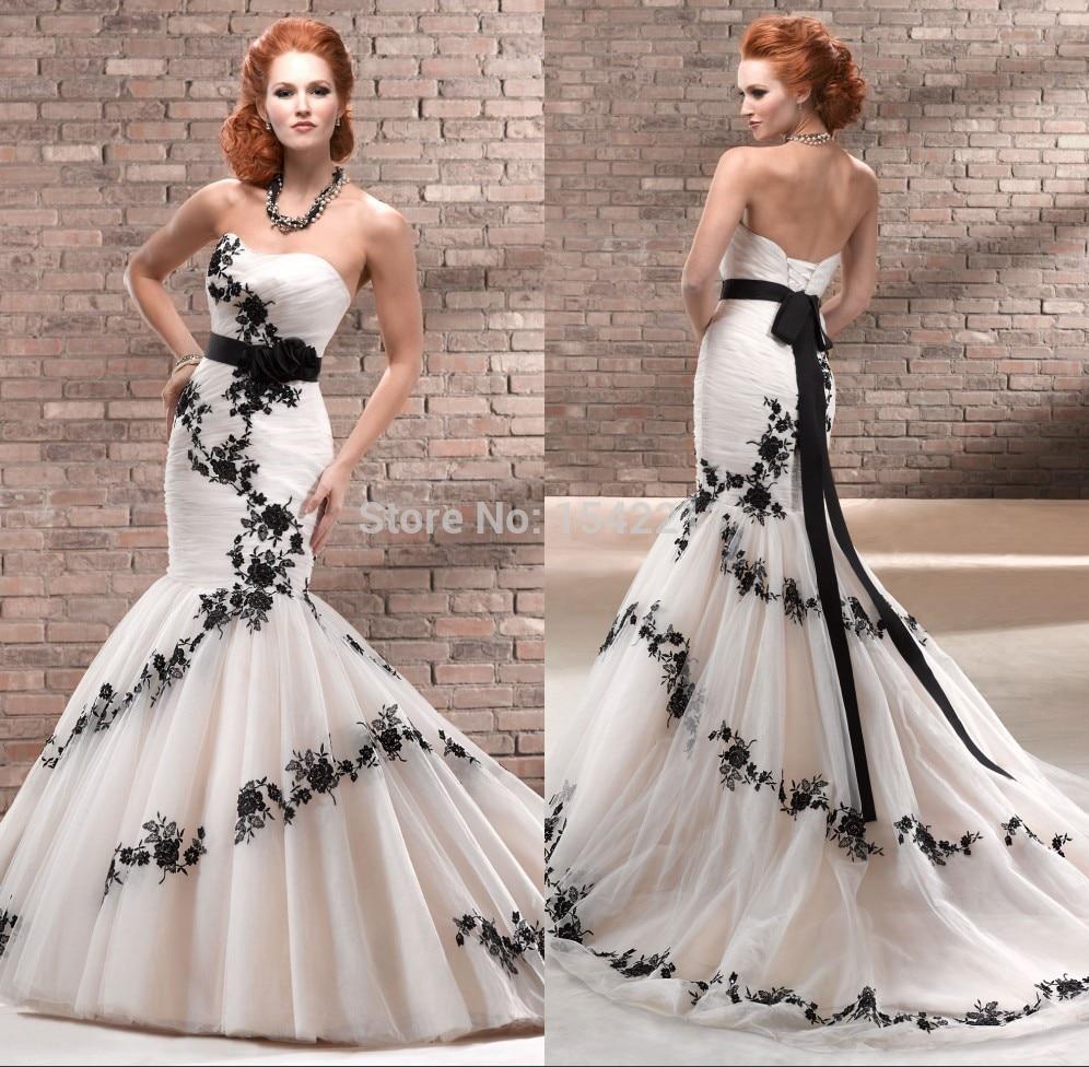Black Wedding Gowns For Sale: Unique Black Appliques Lace Vintage Wedding Dress Ivory