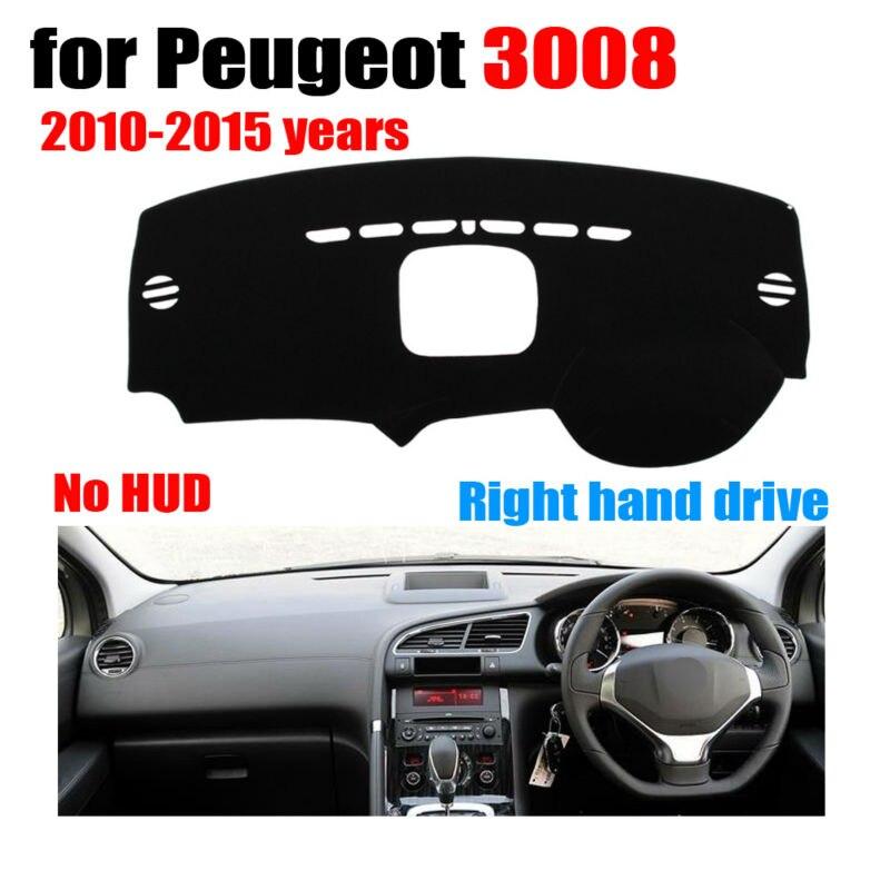 RKAC Voiture tableau de bord couvre tapis pour Peugeot 3008 Faible configuration 2010-2015 conduite à Droite dashmat pad dash couverture auto
