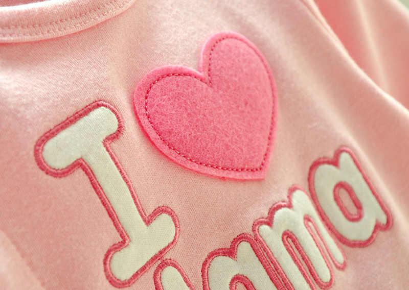 I LOVE MAMA PAPA เด็กทารก Romper 1 ชิ้นจัมเปอร์เด็กวัยหัดเดินโดยรวม One - piece ทารก Unisex ฤดูใบไม้ร่วงเสื้อผ้าของขวัญเกิด 3 เมตร 6 เมตรใหม่