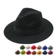 Винтажные классические фетровые джазовые фетровые шляпы с большими полями, ковбойские Панамы для женщин и мужчин, черные, красные, Трилби, Дерби котелок и верхняя шляпа