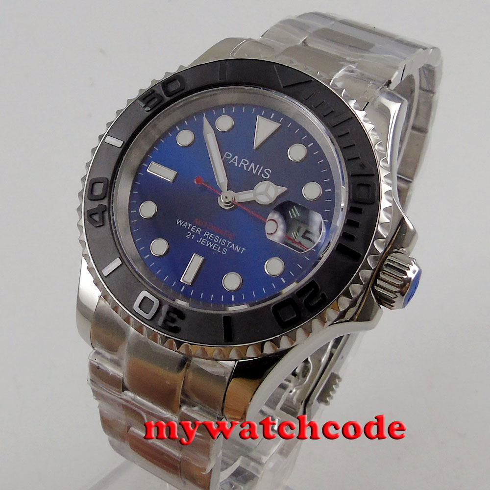 41mm Parnis blue dial Sapphire glass Ceramic bezel miyota 8215 automatic mens watch цена и фото