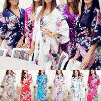 RB001 Plus Size Japanese Yukata Peacock Satin Nightdress Kimono OBI Robe Dressing Gown