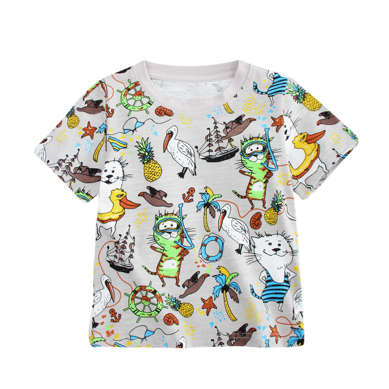Tees tops new short sleeve boy T shirt kids Cartoon T-shirt printed some cats summer clothes top quality boys girls t shirt 2-7T цена и фото