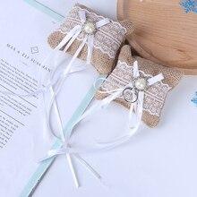 Cojín de yute de arpillera Vintage para boda nuevo cojín con encaje y lazo para anillo de boda para decoración para bodas y compromisos