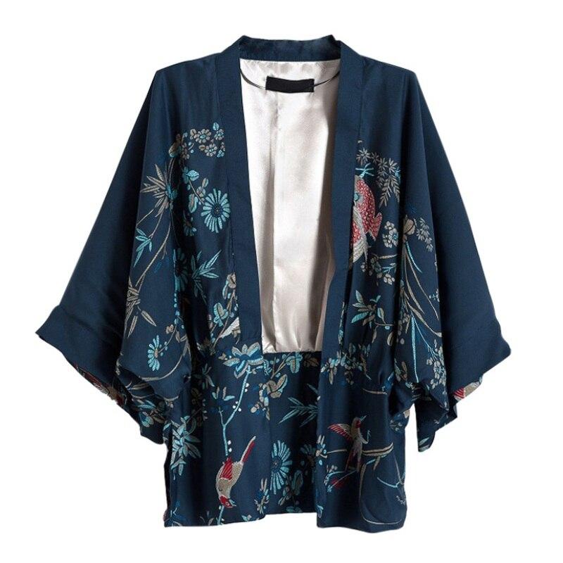 New Harajuku Cardigan Summer Women Japanese Kimono Phoenix Printed Bat Sleeve Loose Cardigan Sun Protection Blouse W1