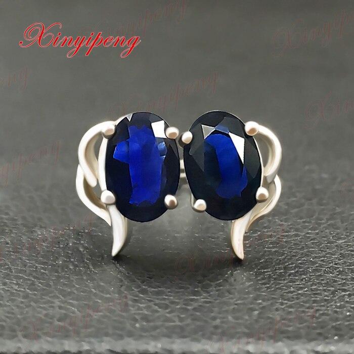 Or blanc 18 k avec 100% boucles d'oreilles en saphir naturel couleur bleue de feu bijoux fins contractés