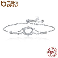 BAMOER Genuine 925 Sterling Silver Twisted Double Heart In Heart Chain Bracelets For Women Authentic Silver