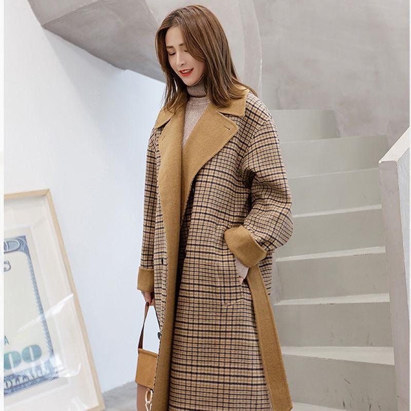 2018 Long Hiver Femmes Ceinture Picture Survêtement Mélange Manteau As Double Chaud Mode Coréenne Plaid Automne De Laine Breasted rqt5r