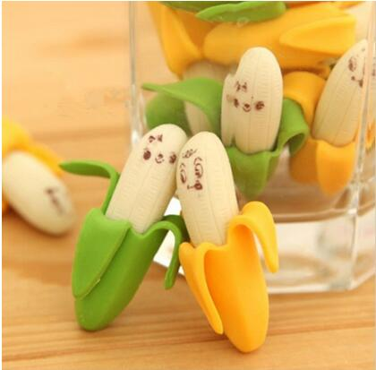 96pcs/lot  Kawaii Simulation Banana Eraser Fruit Pencil Rubber Novelty For Kids School Supplies Student Office Stationery